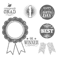Blue Ribbon Wood-Mount Stamp Set