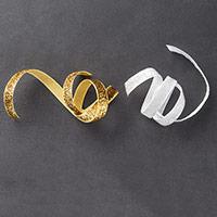 """Gold & White 3/8"""" (1 Cm) Glitter Ribbon"""