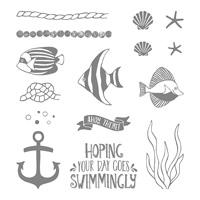 Seaside Shore Wood-Mount Stamp Set